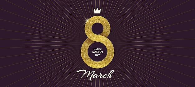 8 marzo - biglietto di auguri per la giornata internazionale della donna. nastro dorato a forma di segno otto.