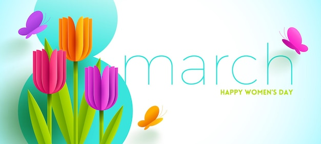 8 marzo - illustrazione della giornata internazionale della donna. biglietto di auguri con fiori di tulipani di carta e farfalle.