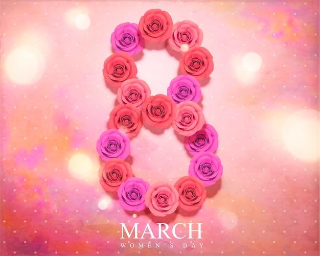 8 marzo festa della donna con rose composto numero su sfondo acquerello bokeh