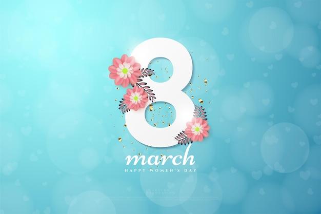 Stile bokeh di marzo con fiori rossi.