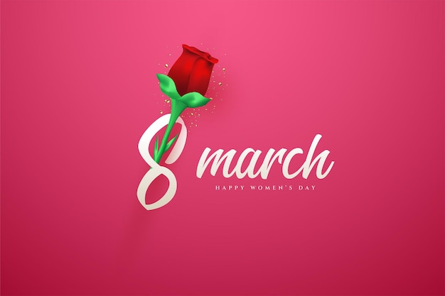 Marcia con una rosa rossa realistica.