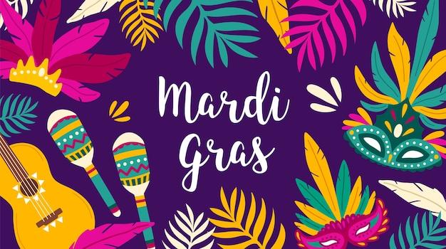 Modello di banner mardi gras decorato da foglie tropicali, chitarra, maracas e maschere