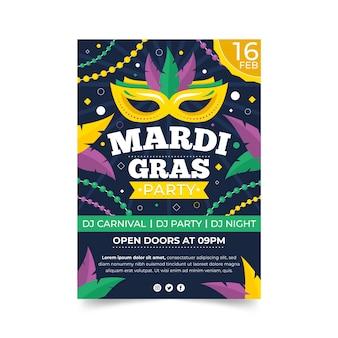 Modello di poster design piatto mardi gras con maschera