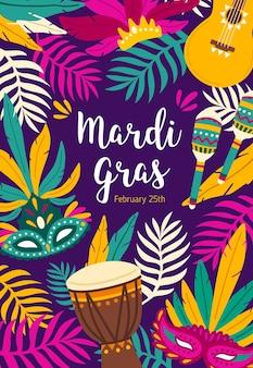 Modello di poster volantino mardi gras decorato da foglie di palma esotiche, chitarra, maracas e maschere