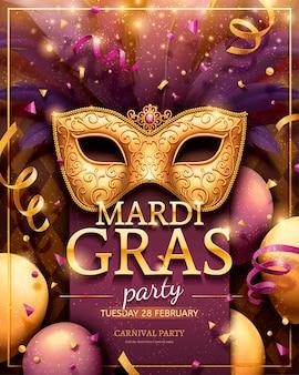 Mardi gras party poster con maschera dorata e decorazioni di coriandoli nell'illustrazione 3d