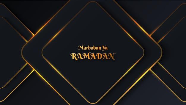 Sfondo marhaban ya ramadan con colore scuro e ornamento in oro lucido