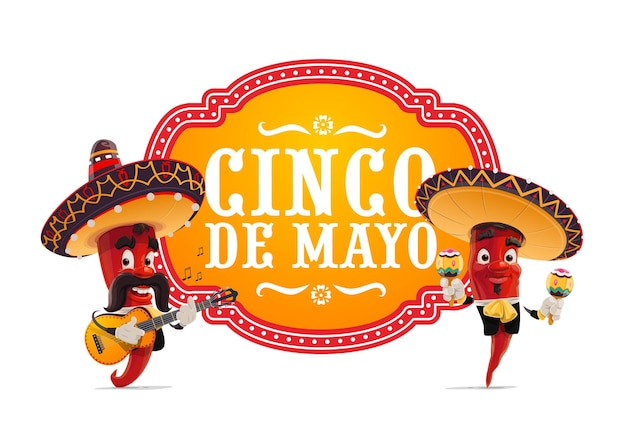Musicisti jalapenos mariachi in sombrero messicano che suonano la chitarra e le maracas