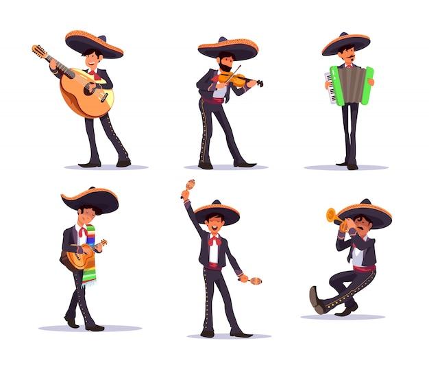 Cantante mariachi. musicisti messicani mariachi con chitarra e maracas