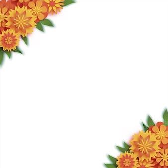 Calendula. ghirlanda di foglie verdi. giallo arancione fiore tagliato di carta. festival indiano fiore e foglia di mango. buon diwali, dasara, dussehra, ugadi. elementi decorativi per la celebrazione indiana. vettore.
