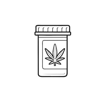 Icona di doodle di contorni disegnati a mano di marijuana o cannabis medicina. cannabis medica, fumare il concetto di erba