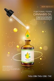 Concetto di marijuana e illustrazione di olio di cannabis