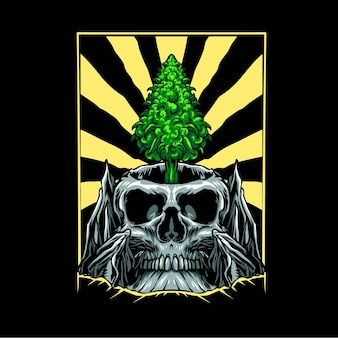 La foglia di marijuana cresce sull'illustrazione del cranio