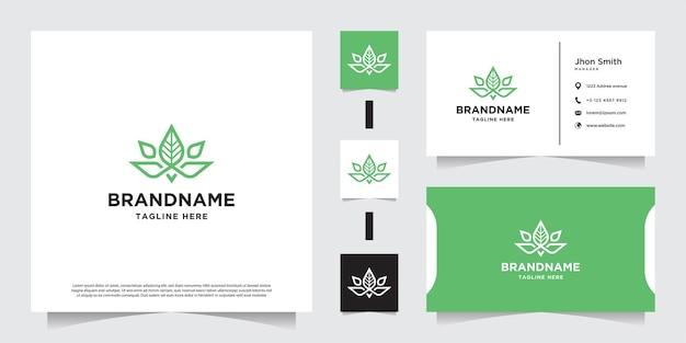 Marijuana con foglie verdi con linea, olio di cbd, marijuana, logo di cannabis e biglietto da visita