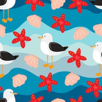 Albatro marino, gabbiano, seamless, modello, seamless, struttura, con, onda, gabbiano, conchiglia, e, starfish
