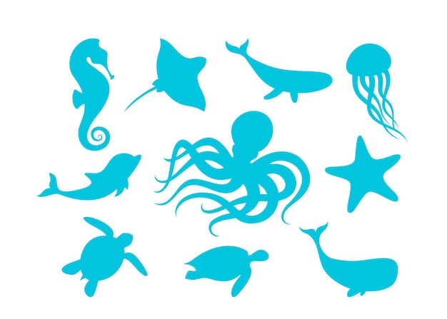 Gli animali marini delineano le siluette isolate dell'illustrazione di vettore dei mammiferi marini e dei pesci