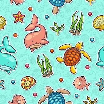 Reticolo senza giunte variopinto di doodle marino