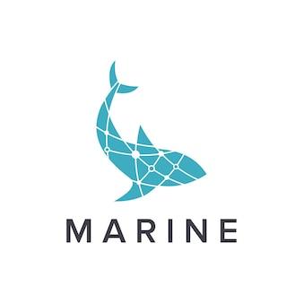 Pesce marino semplice elegante design geometrico creativo moderno logo