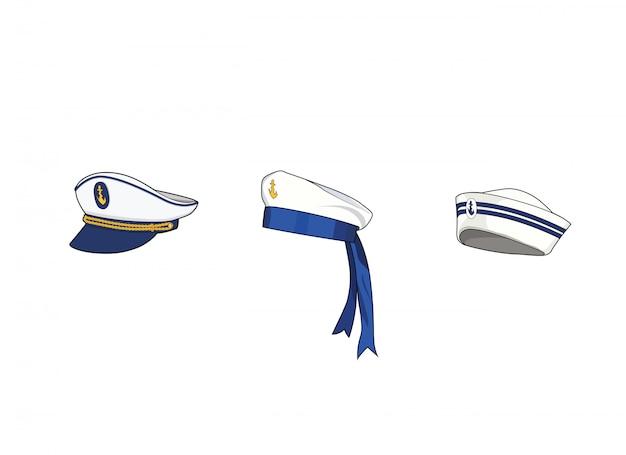 Set di cappelli marini. berretto da capitano sea force, cappello da marinaio. uniforme per l'equipaggio di barca. illustrazione grafica isolata