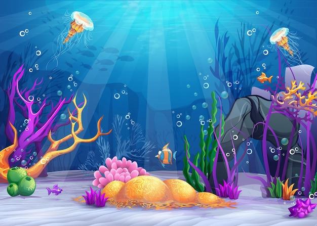 Vita marina paesaggio dell'oceano e del mondo sottomarino con diversi abitanti