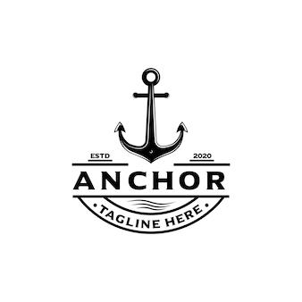 Logo di emblemi marini retrò con ancora, logo di ancoraggio - vettore