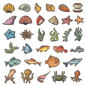 Insieme variopinto di simboli marini marini di 32 immagini. set di 32 abitanti marini multicolori nello stile dei cartoni animati. immagini di copyright dipinte multicolori isolate su uno sfondo bianco.