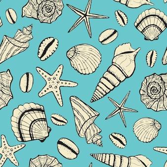 Reticolo senza giunte marino con conchiglia e stelle marine estate mare sott'acqua vettore disegnato a mano