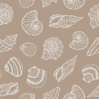 Modello senza cuciture marino con conchiglia. ora legale, mare, conchiglie di mare disegnate a mano sott'acqua