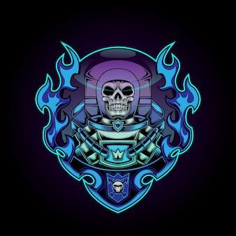 Illustrazione di logo del teschio marino nel fuoco blu