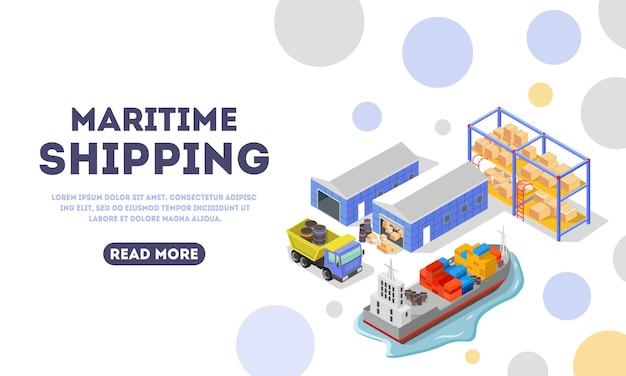 Modello di pagina di destinazione per la consegna marittima.
