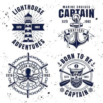 Emblemi, etichette, distintivi o loghi vettoriali set marittimi in stile vintage su sfondo con trame rimovibili