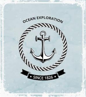Logo di simboli marittimi - ancora con corda e con nastro nero per il testo.