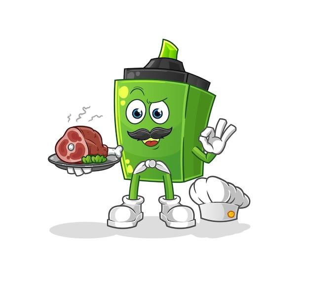 Lo chef marcatore con mascotte di carne. cartone animato