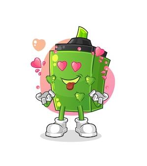 Il marcatore che si innamora. personaggio dei cartoni animati