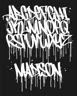 Carattere graffiti marcatore, tipografia scritta a mano