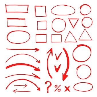 Illustrazione disegnata a mano di vettore degli elementi di scarabocchio dell'indicatore