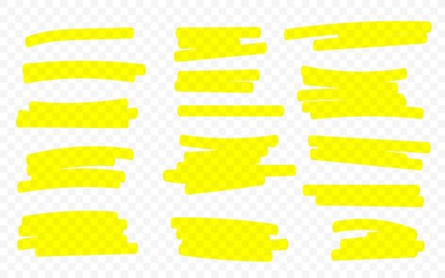 Linee di marker. linee del pennello evidenziatore. disegno a mano