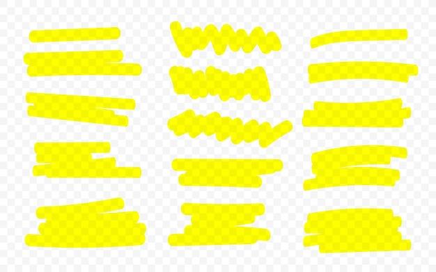 Linee di marker. linee di pennello evidenziatore. disegno a mano.
