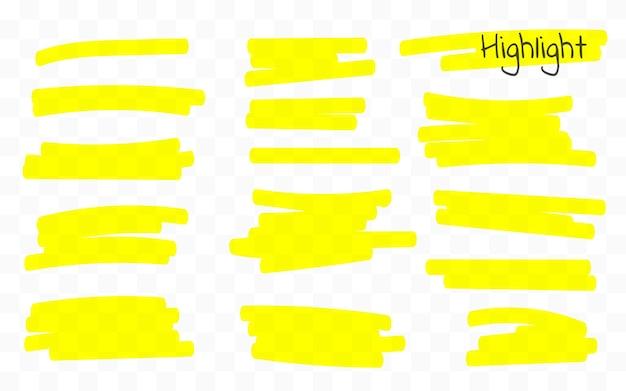 Linee di marker. linee del pennello evidenziatore. disegno a mano.