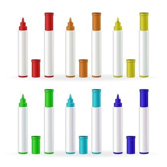 Set di colori diversi di cancelleria di pennarelli