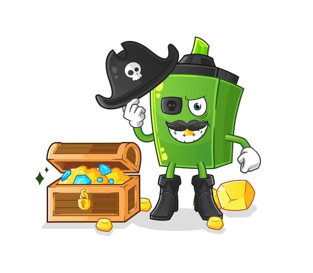 Il pirata marcatore con mascotte del tesoro. cartone animato