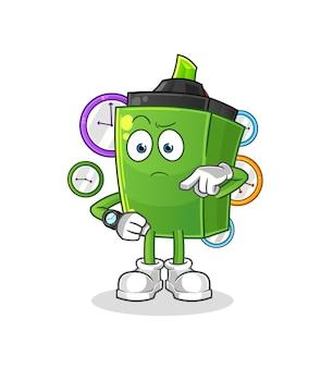 Il marcatore con cartone animato orologio da polso. mascotte dei cartoni animati