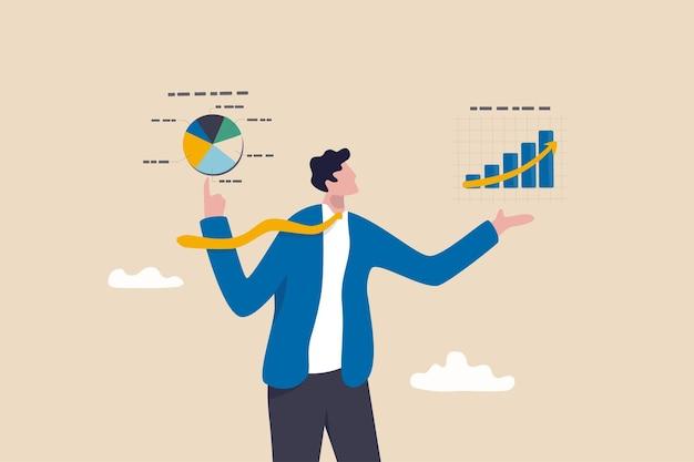 Analisi di mercato o presentazione di statistiche economiche e finanziarie, diagramma dei dati di crescita o concetto di business plan aziendale, uomo d'affari intelligente presenta grafico di analisi virtuale e grafico con entrambe le mani.