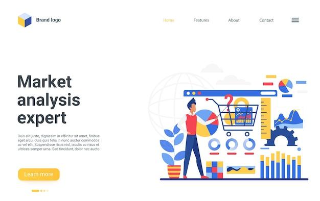 Pagina di destinazione dell'esperto di analisi di mercato, consulente dell'uomo d'affari, ricerca finanziaria