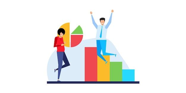 Analisi di mercato. previsione finanziaria, previsione delle tendenze e illustrazione vettoriale piatta di analisi della strategia aziendale