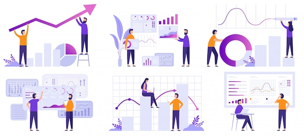 Analisi di mercato. previsione finanziaria, previsioni di tendenze e insieme dell'illustrazione di analisi dei dati di strategia aziendale