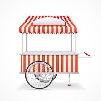 Carrello di mercato mobile a strisce rosse e bianche.
