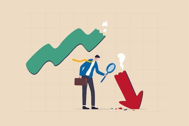 Analisi del crollo del mercato, apprendimento dai dati di fallimento o crisi e recessione, analisi o misurazione del concetto di recessione degli investimenti, analista di uomini d'affari che utilizza il vetro di ingrandimento per guardare la freccia rossa del grafico di arresto
