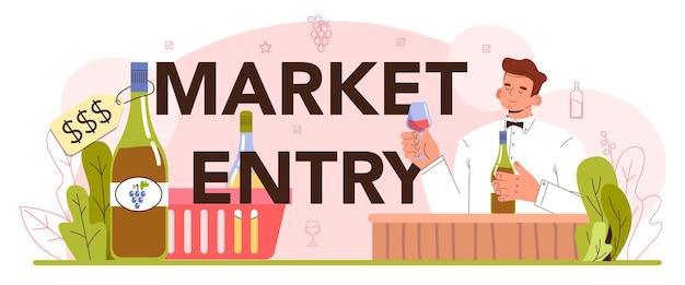 Concetto di ingresso nel mercato. vino d'uva messo in bottiglia per la vendita. produzione di vino