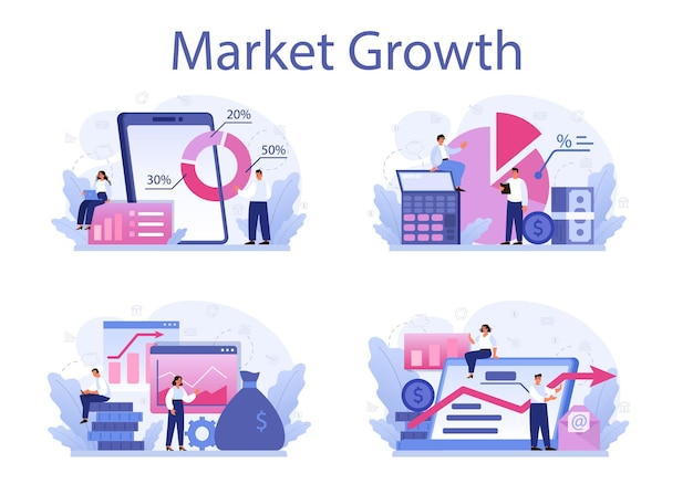 Insieme dell'illustrazione di crescita del mercato. progressi aziendali