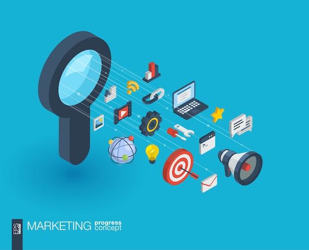 Icone web integrate nel mercato. concetto di progresso isometrico della rete digitale. sistema di crescita della linea grafica collegato. sfondo astratto per ottimizzazione seo, sviluppo web. infograph